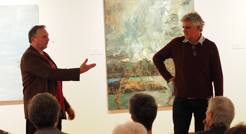 Euan Macleod and Gregory O'Brien giving an public talk in the Art Gallery