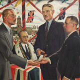 A painted scene of The Square in Palmerston North, in which the Duke of Gloucester gives medals to Malcolm McGregor and Henry Walker, while a crowd and mayor Augustus Mansford look on